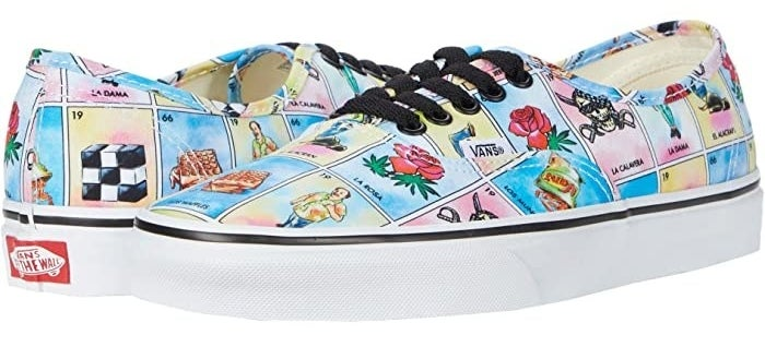Vans authentic sneakers with Loteria board print with black shoe laces