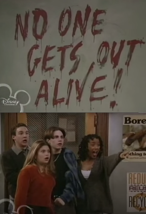 """the gang pointing at the blackboard, where """"No one gets out alive!"""" is written in blood"""