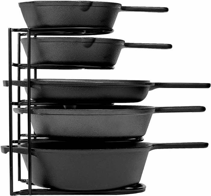 A bunch of pans in an organiser