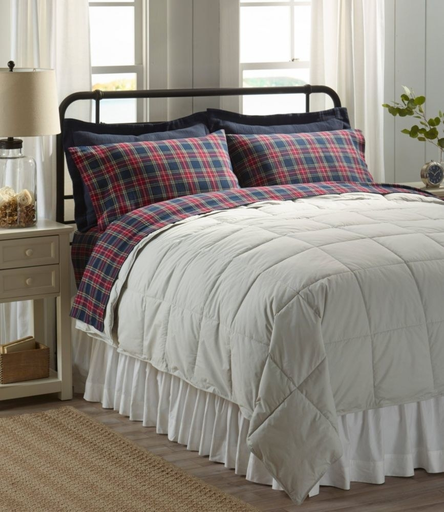 The flannel sheet set displayed on a bed