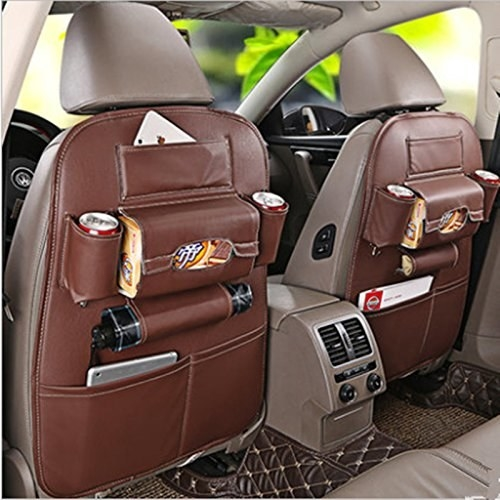 A car backseat with an organiser on it