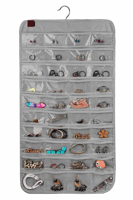 A jewellery organiser with jewllery in it