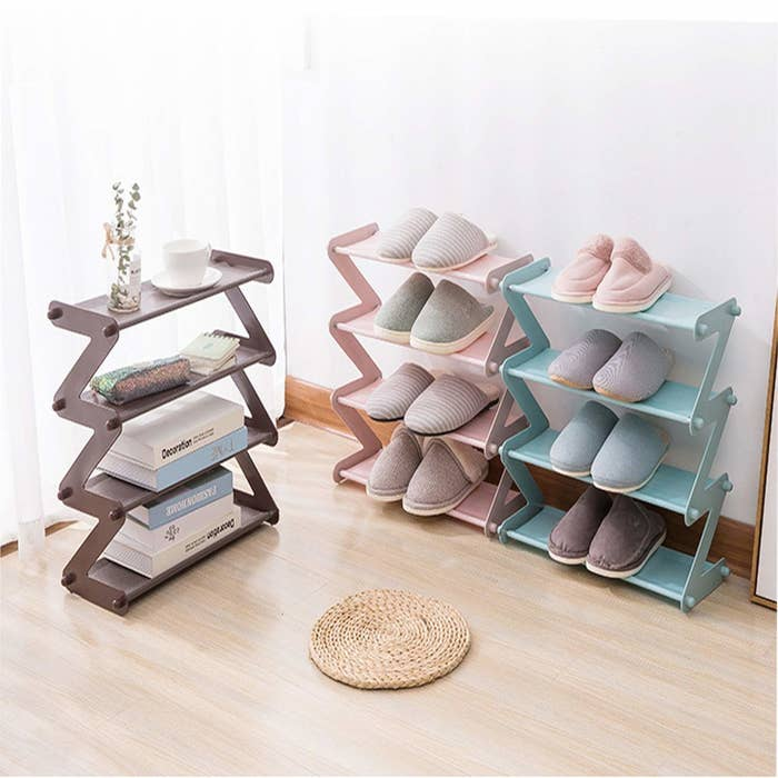 Three collapsible shelves - one pictured with books and plants, the other two with shoes.
