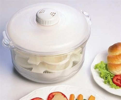 Steam cooker with three layers.