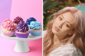 An image of Jihyo from Twice next to an image of a tray of cupcakes