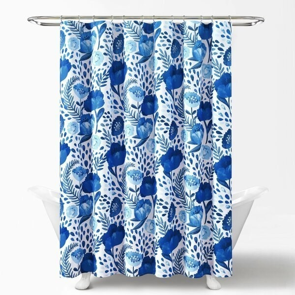 Blue and white floral shower curtain