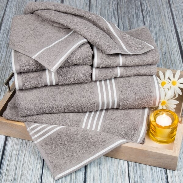 Tan towels with white stripes