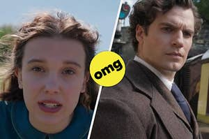 Split screen; on the left, Enola Holmes, on the right, Sherlock Holmes