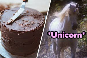 Someone spreading chocolate frosting on a cake on the left and a unicorn on the right