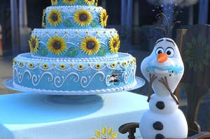 Olaf from Frozen eating a bite of a cake