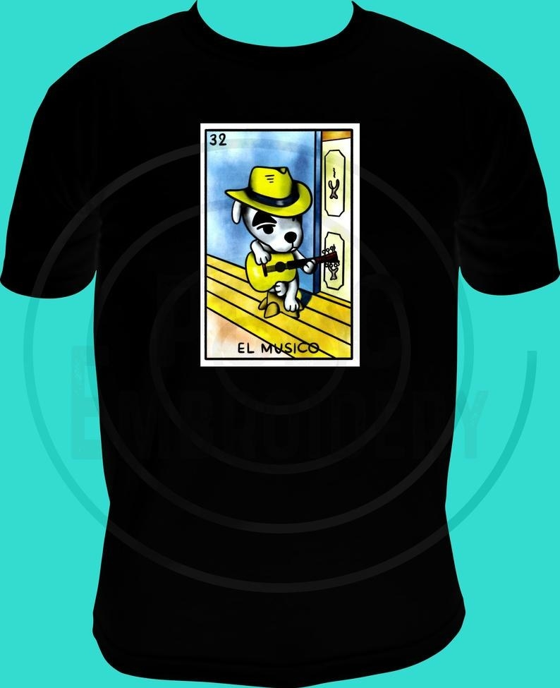 shirt with loteria style design of KK Slider from Animal Crossing