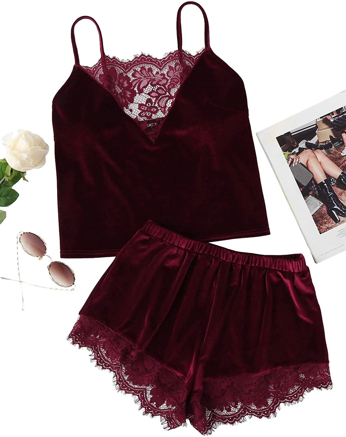 the burgundy velvet tank top and lace trim shorts