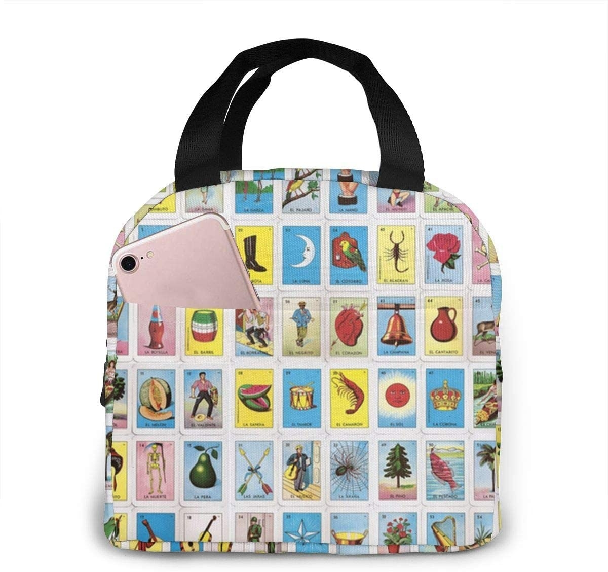 lunchbox with Loteria card print on it