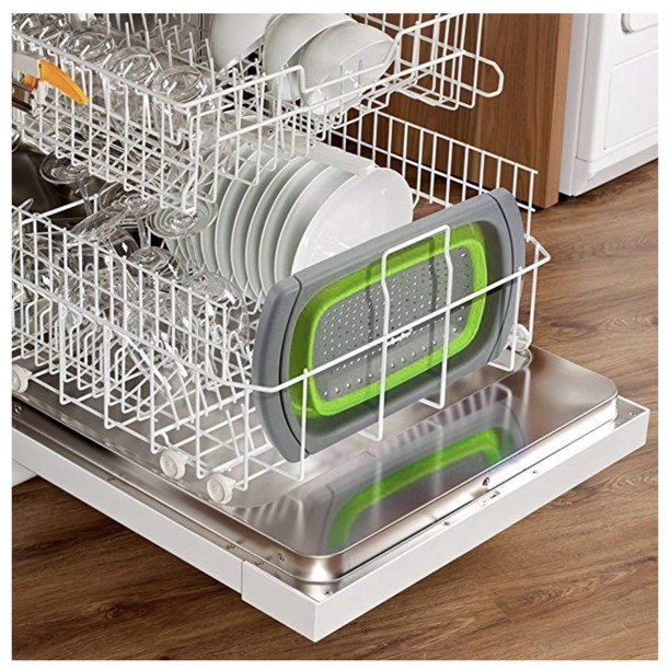 The colander collapsed and fitted inside a dishwasher