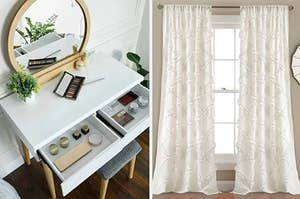 On the left, white and light wood vanity with a circular mirror and makeup on top. On the right, sheer white curtains hanging above a window