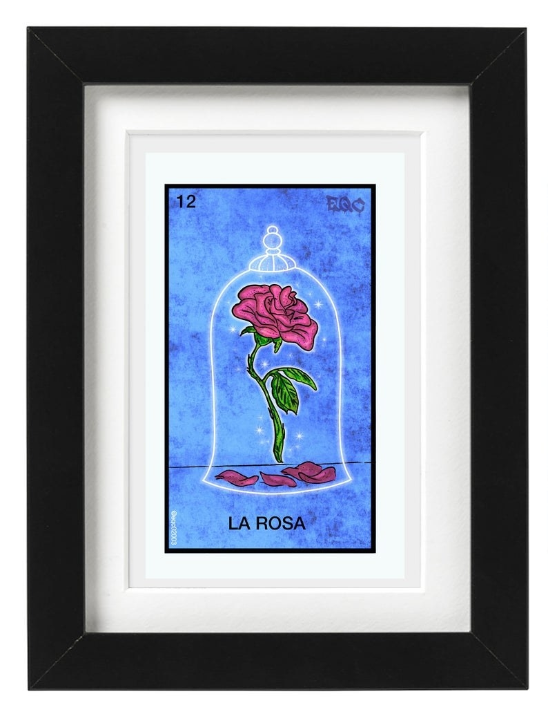 print of Beauty and the Beast rose in style of a Loteria card