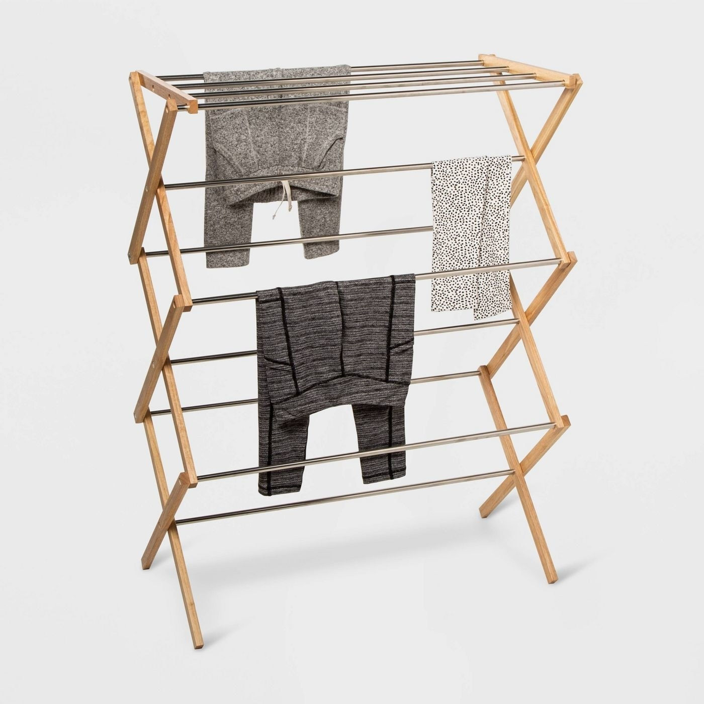 stainless steel laundry rack with rubber wood on the sides