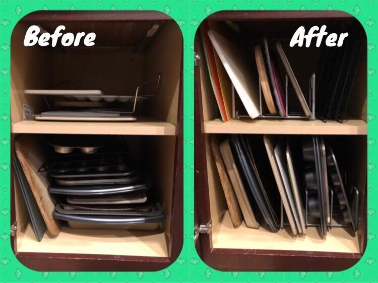 """on the left reviewer's cookie sheets and cutting boards in a stack labeled """"before"""" on the right the same cabinet with the items neatly vertical in the organizers"""