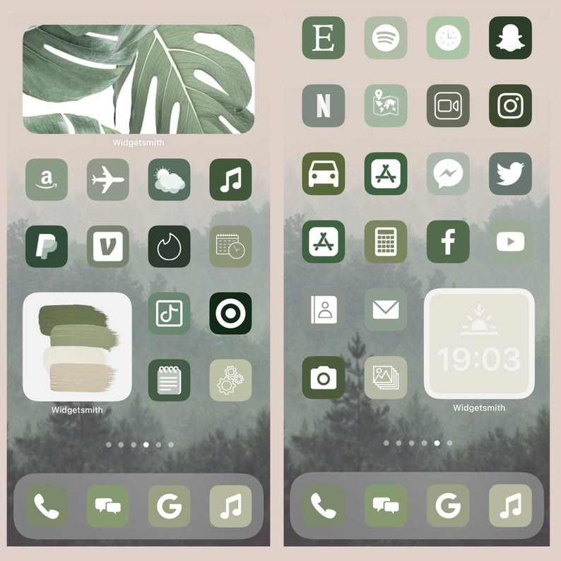 green gradient icons