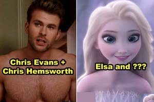 Side-by-side of Chris Evans + Chris Hemsworth morphed together, plus Elsa morphed with another Disney character