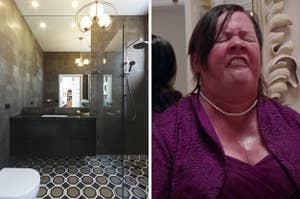 On the left, a luxury bathroom with tile floors, a chandelier, and a marble counter, and on the right, Melissa McCarthy uses the bathroom as Megan in