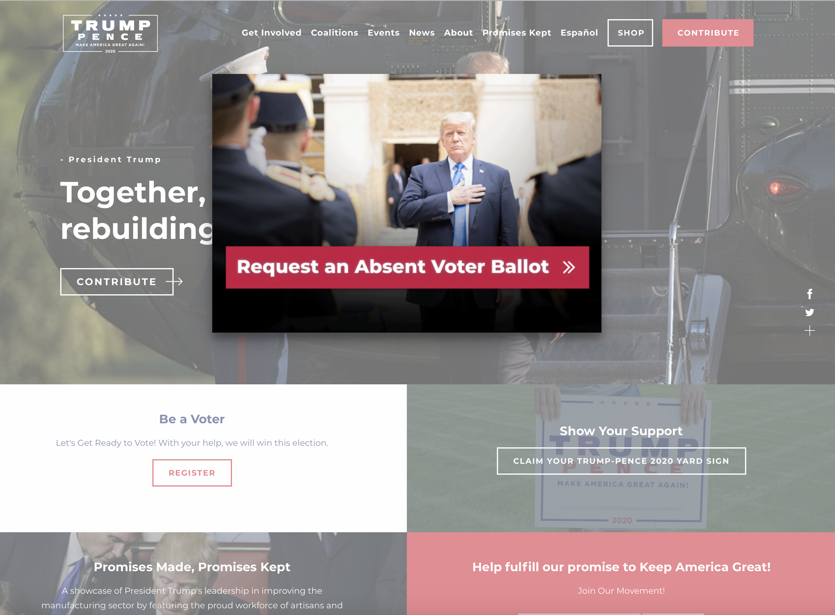 "A screengrab of the Trump campaign website showing the president holding his hand over his heart with text below him reading, ""request an absent voter ballot"""