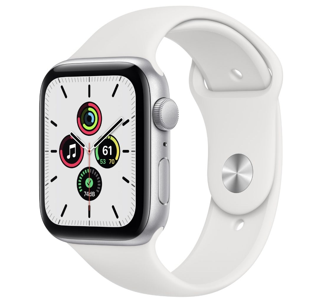 The apple watch SE in 44mm white