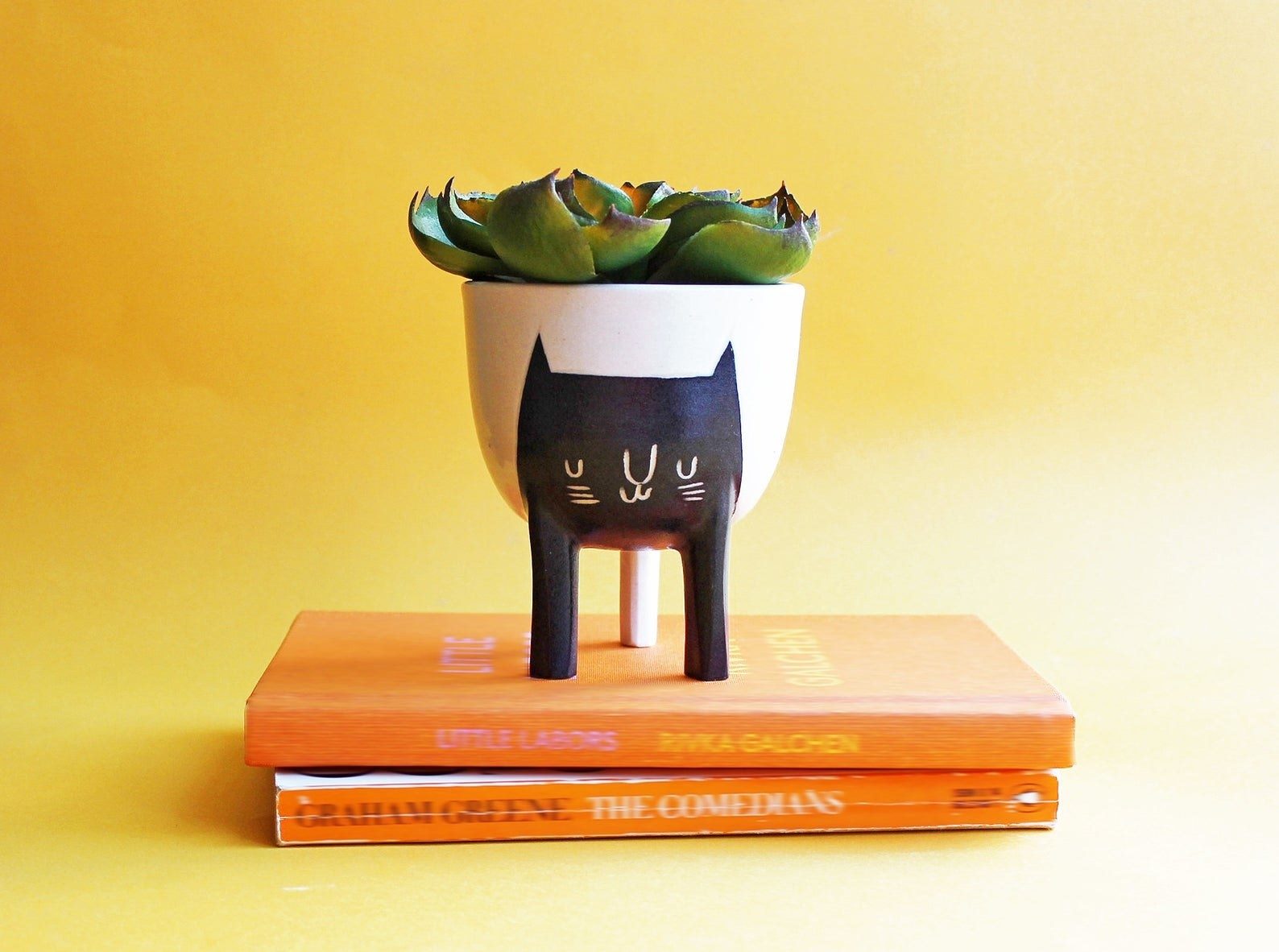 A round white planter with a cat face painted on and two front legs painted to look like the cat's legs and one back leg