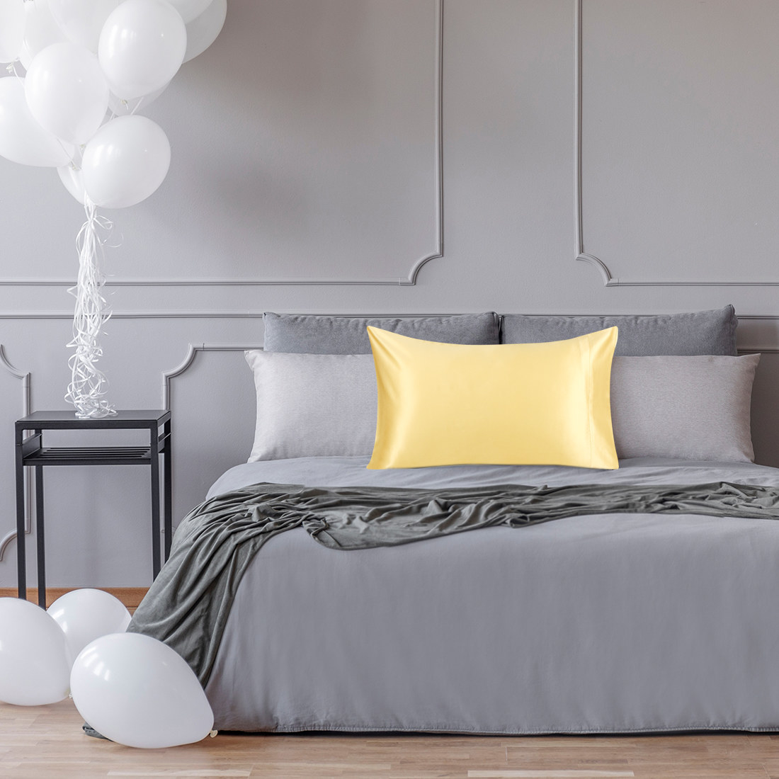 The silk pillowcase on bed in yellow