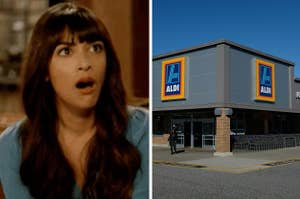 "Side-by-side images of Cece from ""New Girl"" looking shocked and Aldi"