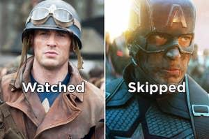 """Chris Evans in """"Captain America: The First Avenger"""" vs. """"Engame"""""""