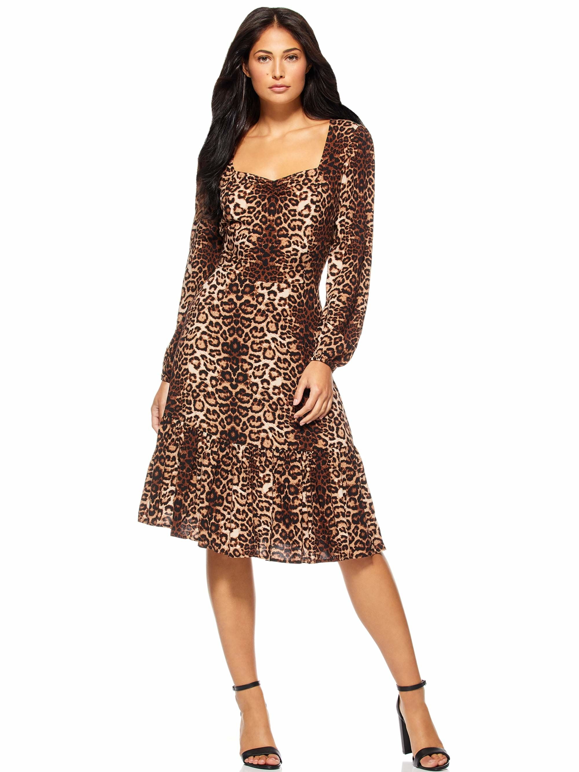 A model wearing a cheetah print dress