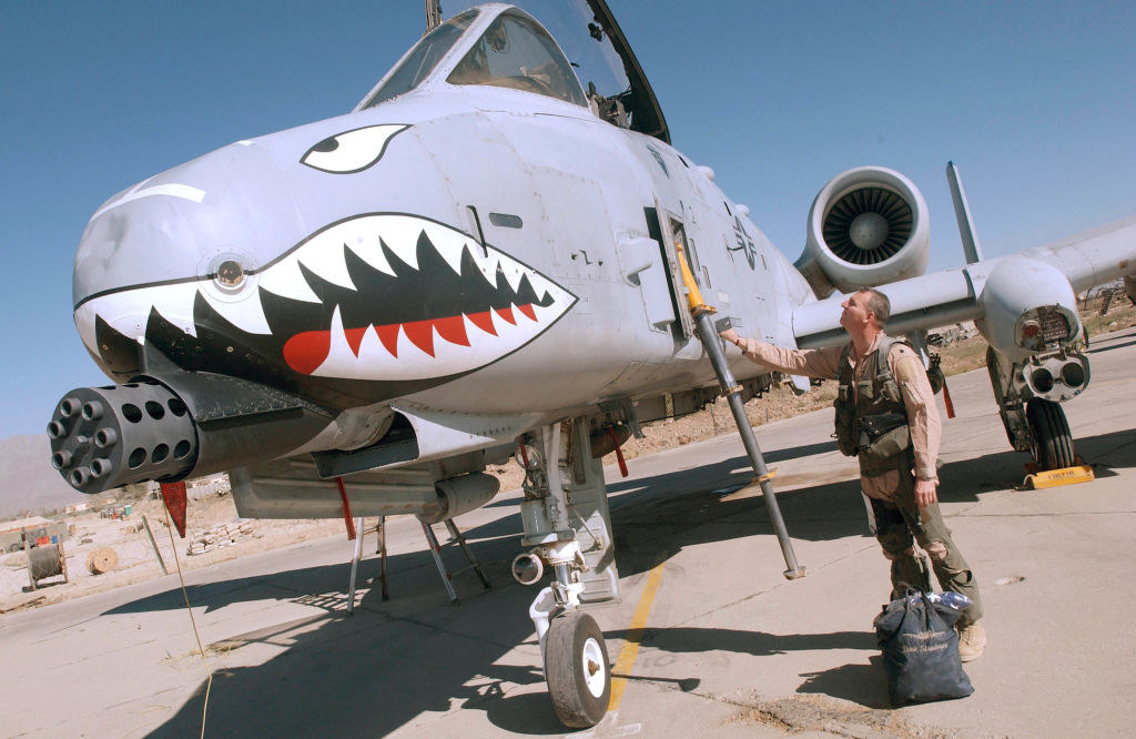An A-10 Warthog which has a massive minigun mounted on the nose