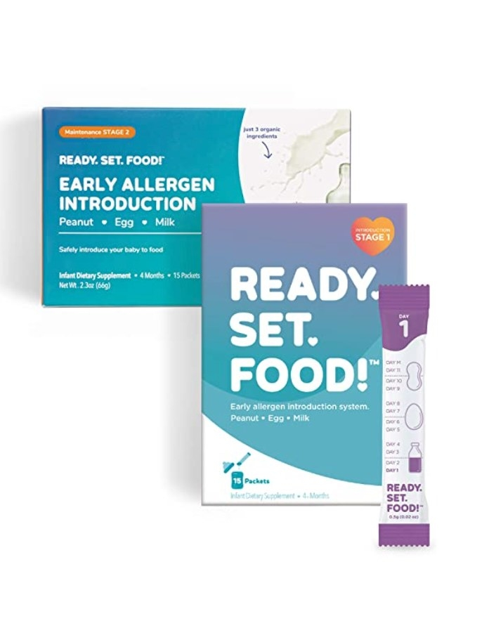 A picture of the Ready, Set, Food box, which is an allergen introduction kit for babies.