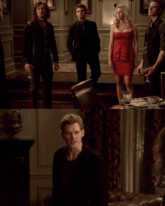 Klaus yelling at Elijah, Rebekah, Finn, and Kol