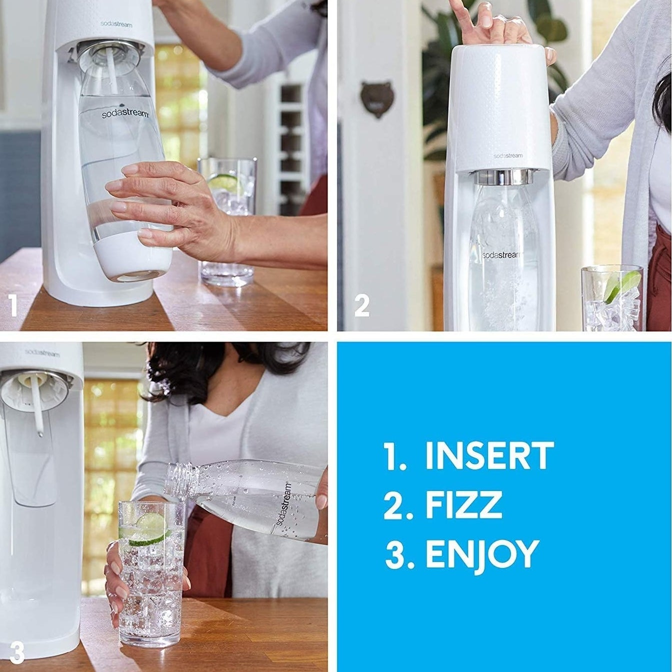 The Soda Stream being used to make seltzer