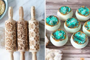Embossed rolling pins and geode bath bombs