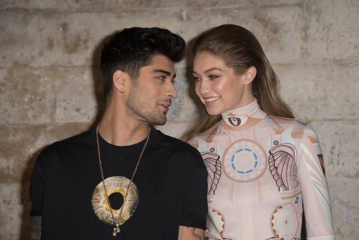 Zayn Malik and Gigi Hadid  attend the Givenchy show as part of the Paris Fashion Week