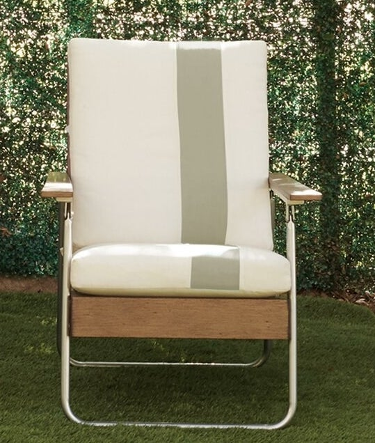 The gray and cream striped patio chair