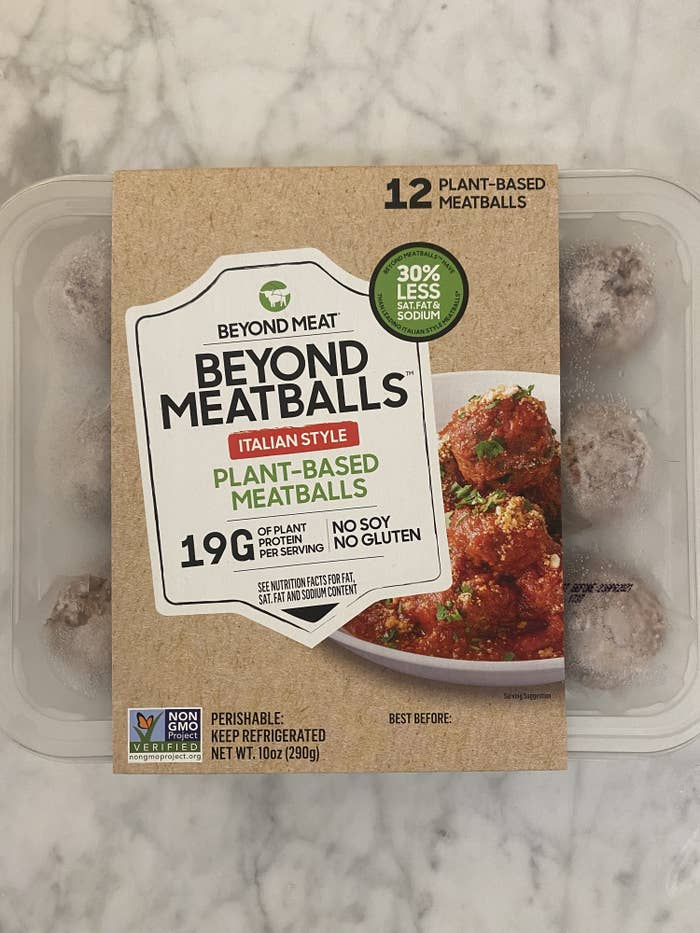 A package of Beyond Meat meatballs.