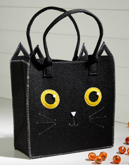 A close up of the cat shaped shopper bag