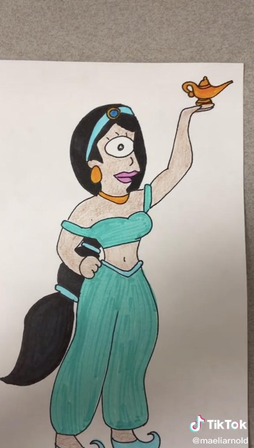 Leela as Jasmine drawing.