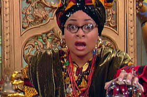 Raven from Disney's That's So Raven dressed as a fortune teller looking surprised