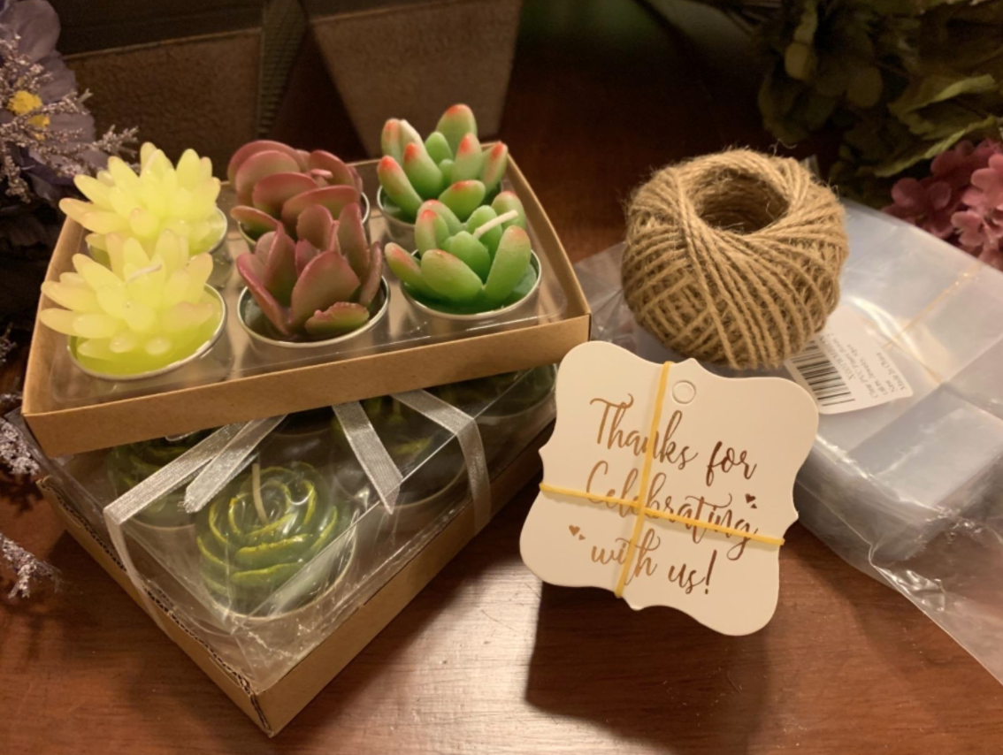 Six cactus candles in green, yellow, and red, in tiny tin pans