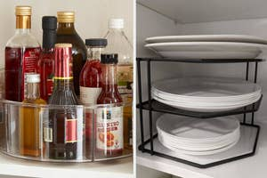 on the left a clear lazy susan holding condiments, on the right a reviewer's cabinet riser shelves