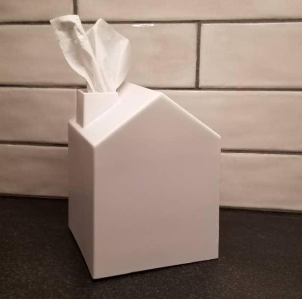 white house-shaped tissue box cover