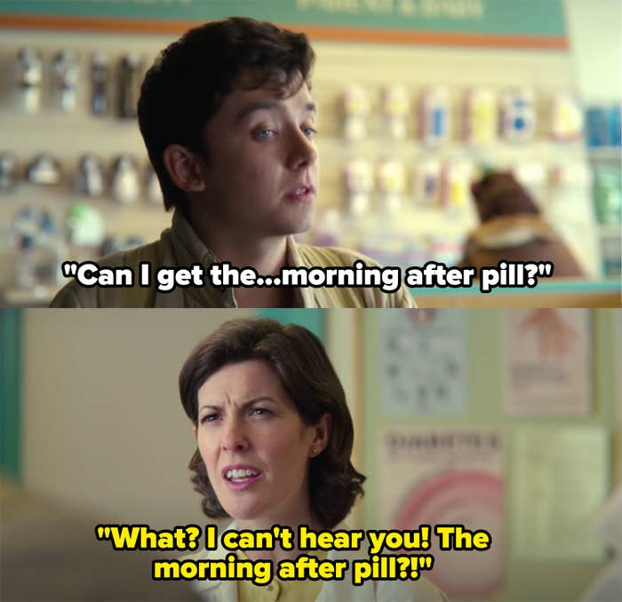 """Otis asks for the morning after pill, the cashier, """"what? I can't hear you! the morning after pill?!"""""""