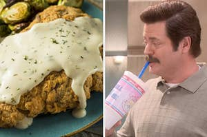 A chicken fried steak on the left and Ron Swanson drinking a huge soda on the right
