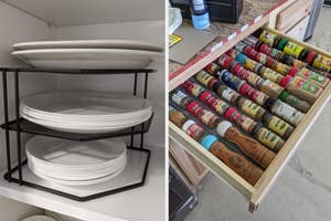 on the left a reviewer's plates on cabinet shelf risers, on the right a reviewer's organized spice drawer