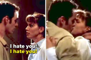 Xander and Cordelia saying they hate each other on Buffy the Vampire Slayer, then kissing